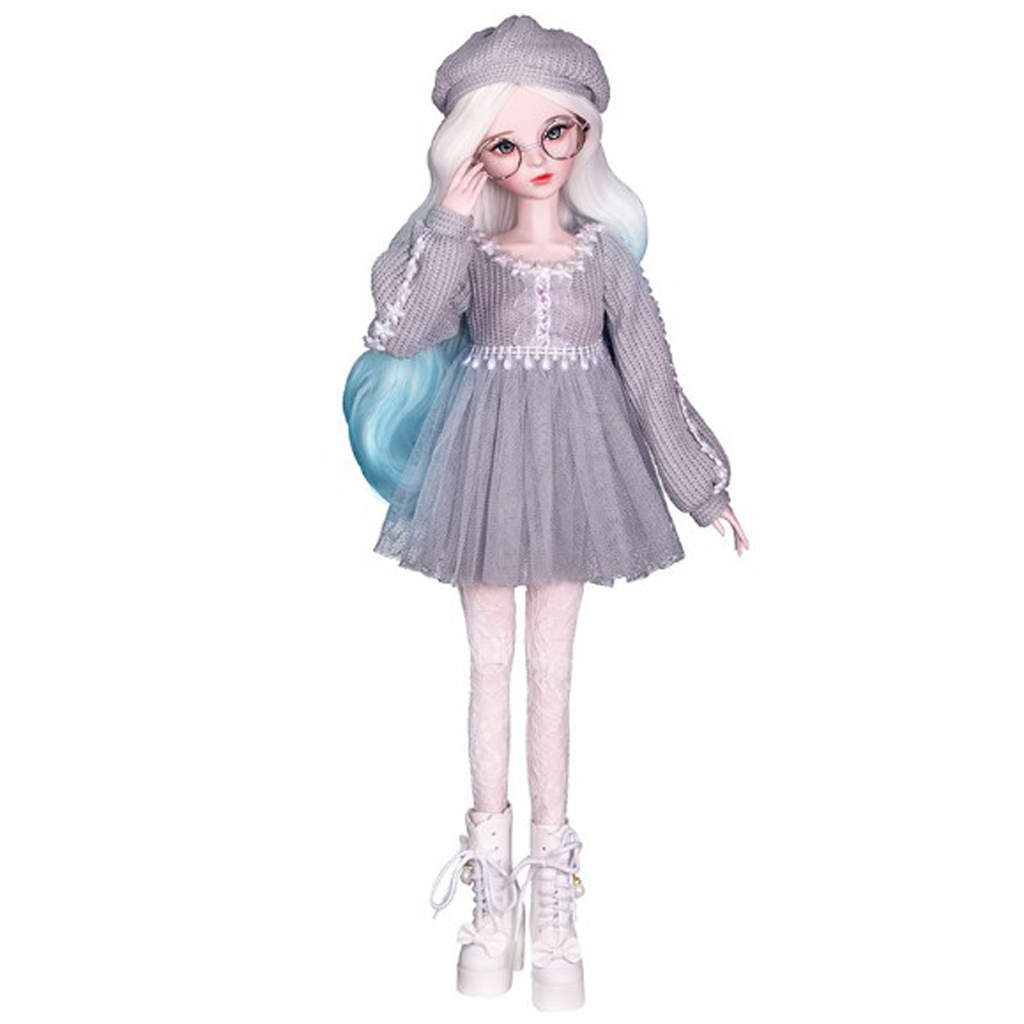 Fashion Sweater Gauzy Dress with Beret Lace Stockings for <font><b>1/3</b></font> <font><b>BJD</b></font> 60cm Dolls Accessories Gray image