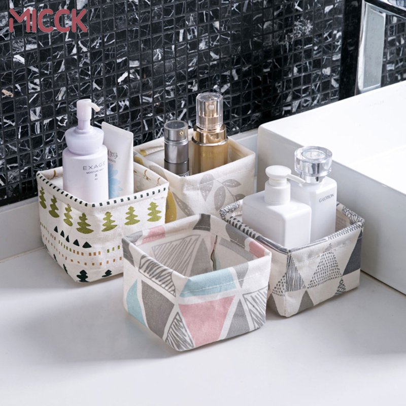 MICCK Desktop Storage Basket Cute Printing Waterproof Organizer Canvas Fabric Toy Cosmetic Jewelry Sundries Office Storage Box tipi tent kinderkamer