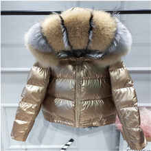 Women's Winter 90% White Duck Down Jacket Luxury Large Real Fox Fur Hooded Parka Warm Winter Jacket Pink Gold(China)
