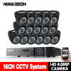 NINIVISION 4mp CCTV Surveillance Kit 4mp Security Camera System 16CH DVR 1080P 2K Video Output CCTV
