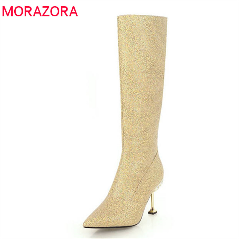 MORAZORA 2018 newest sequined cloth knee high boots women pointed toe zipper fashion high heels boots sexy autumn winter shoes morazora 2018 new arrival knee high boots women pointed toe autumn winter boots sequined cloth sexy thin high heels shoes woman