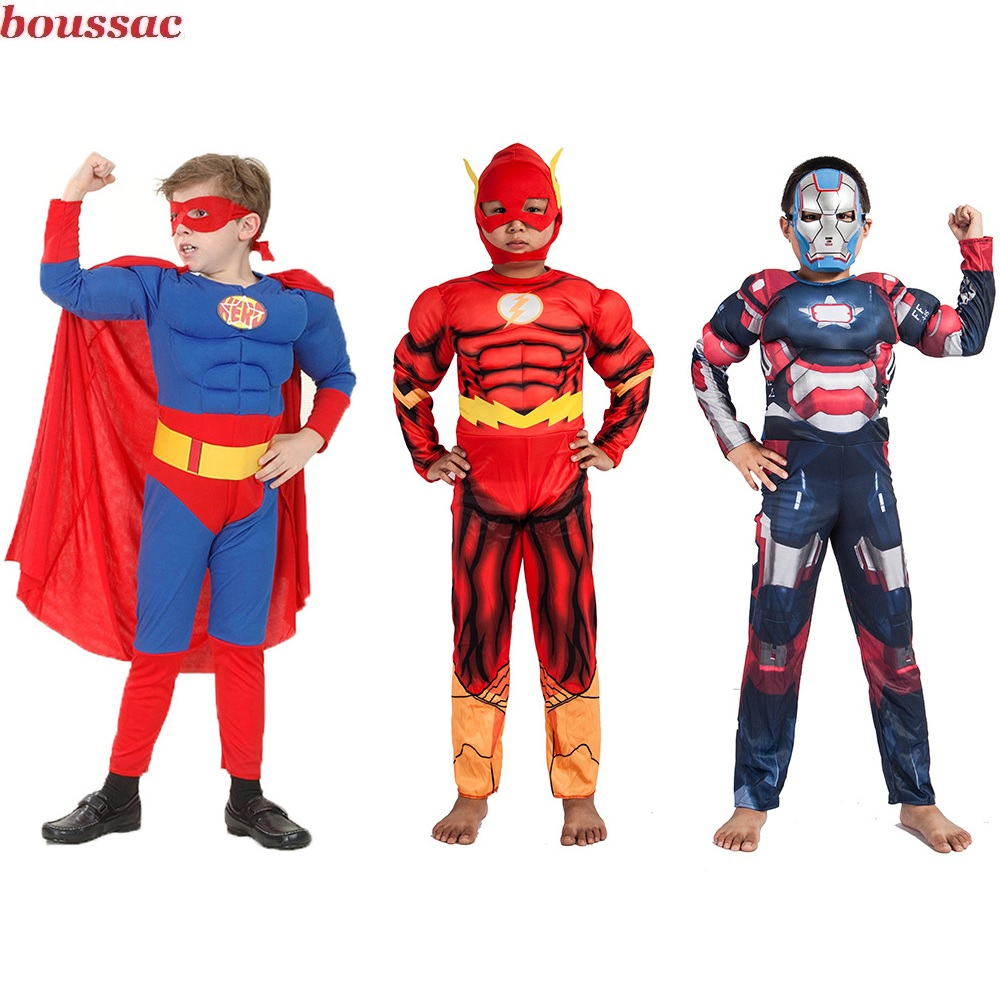 Kids Cartoon Boy Girls Muscle Superhero Costume Spiderman Batman Hulk Ant Superman Iron Man Captain America avengers Clothes