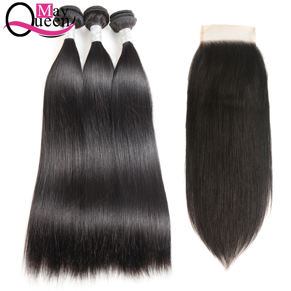 May Queen Hair Indian Straight Human Hair Weave 3Bundles With 4*4 Lace Closure Hair Extension Natural Black Color Non Remy