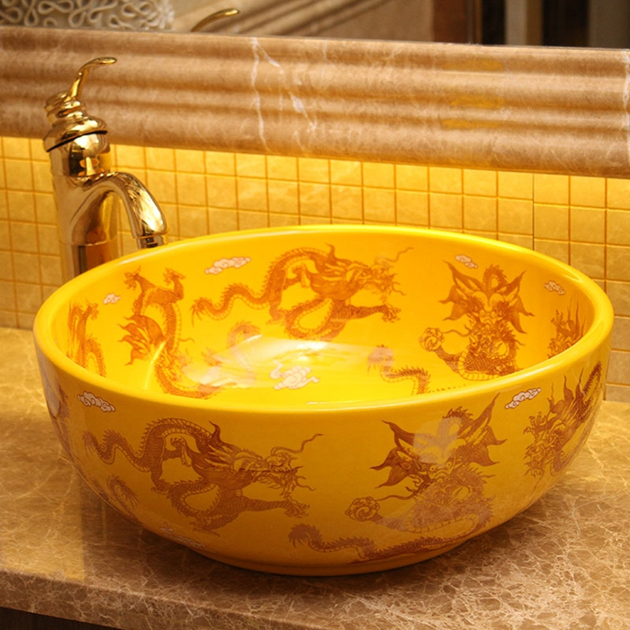 Unique Oriental Dragon Design Yellow Jingdezhen Ceramic Toilet Hand Painted Wash Basins
