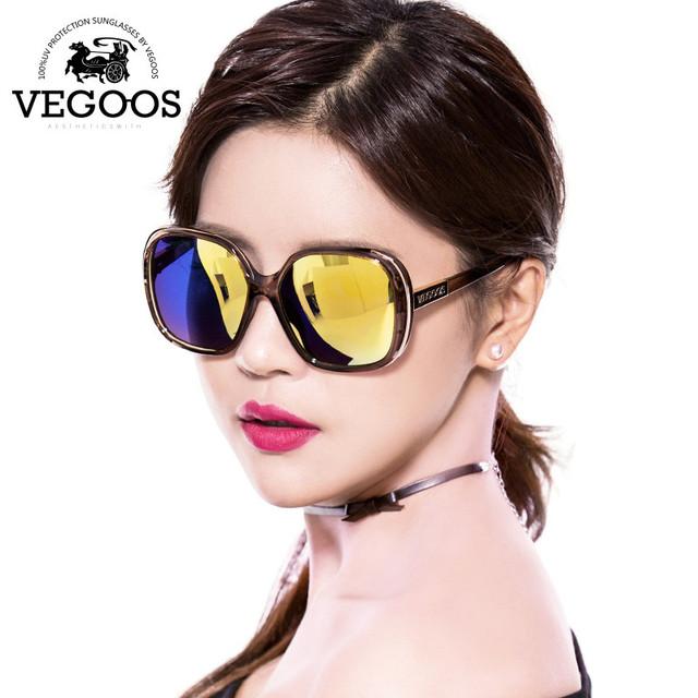 VEGOOS 2016 Nova Moda Polarized Mulheres Óculos De Sol Feminino Grande Em Torno do Quadro Marca Designer Retro Óculos de Sol Mulher Óculos #9087