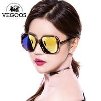 VEGOOS 2016 New Fashion Polarized Women Sunglasses Female Large Round Frame Brand Designer Retro Sun Glasses