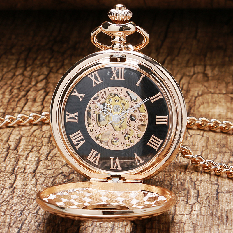2 Design Rose Gold Mechanical Pocket Watch Hand Winding Watches Transparent Case Men Women Pendant Fob Chain Reloj De Bolsillo automatic mechanical pocket watches vintage transparent skeleton open face design fob watch pocket chain male reloj de bolso