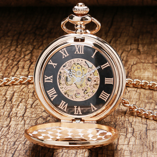 2 Design Rose Gold Mechanical Pocket Watch Hand Winding Watches Transparent Case
