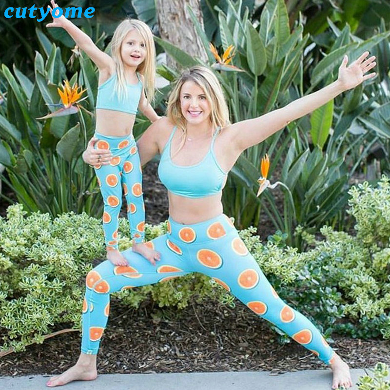Mother Daughter Son Matching 2pcs/set Clothes Tops+Lemon Pants Leggings Mommy And Me Sport Yoga Family Look Beachwear Outfits