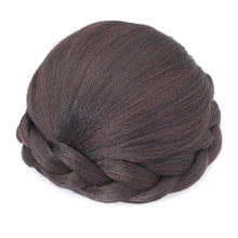 Gres Women Synthetic Hair Pads Black Color Clip In Hairpiece Braided Girl's Wig Bun Heat Resistant Fiber(China)