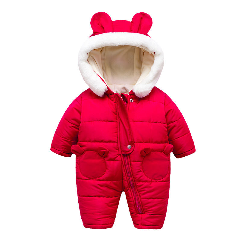 Baby Rompers Spring Baby Clothes Baby Boy Clothes Cartoon Animal 3D Bear Ear Romper Jumpsuit Warm Newborn Infant Romper