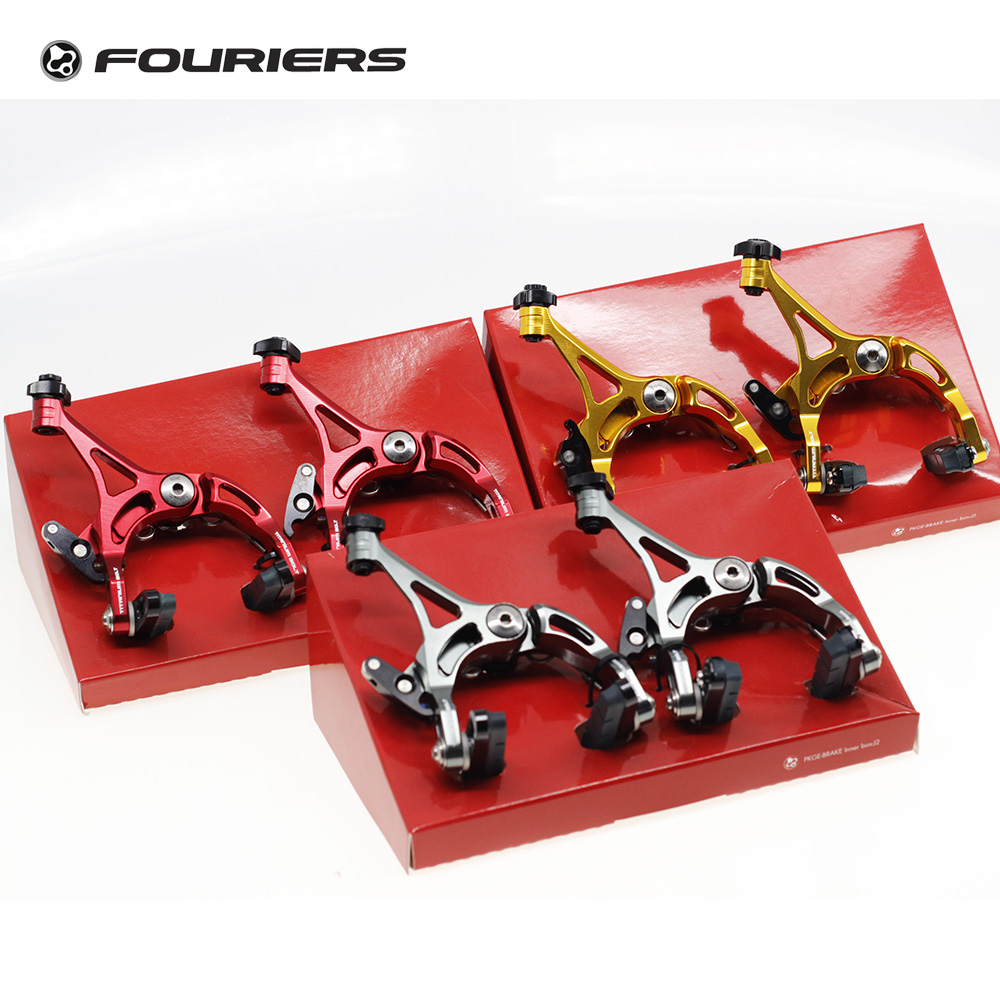 цена на Fouriers Front + Rear Road Bike Caliper Brake Time Trial Triathlon CNC Aluminium C Brake for Alloy rims Bicycles Brakes Set