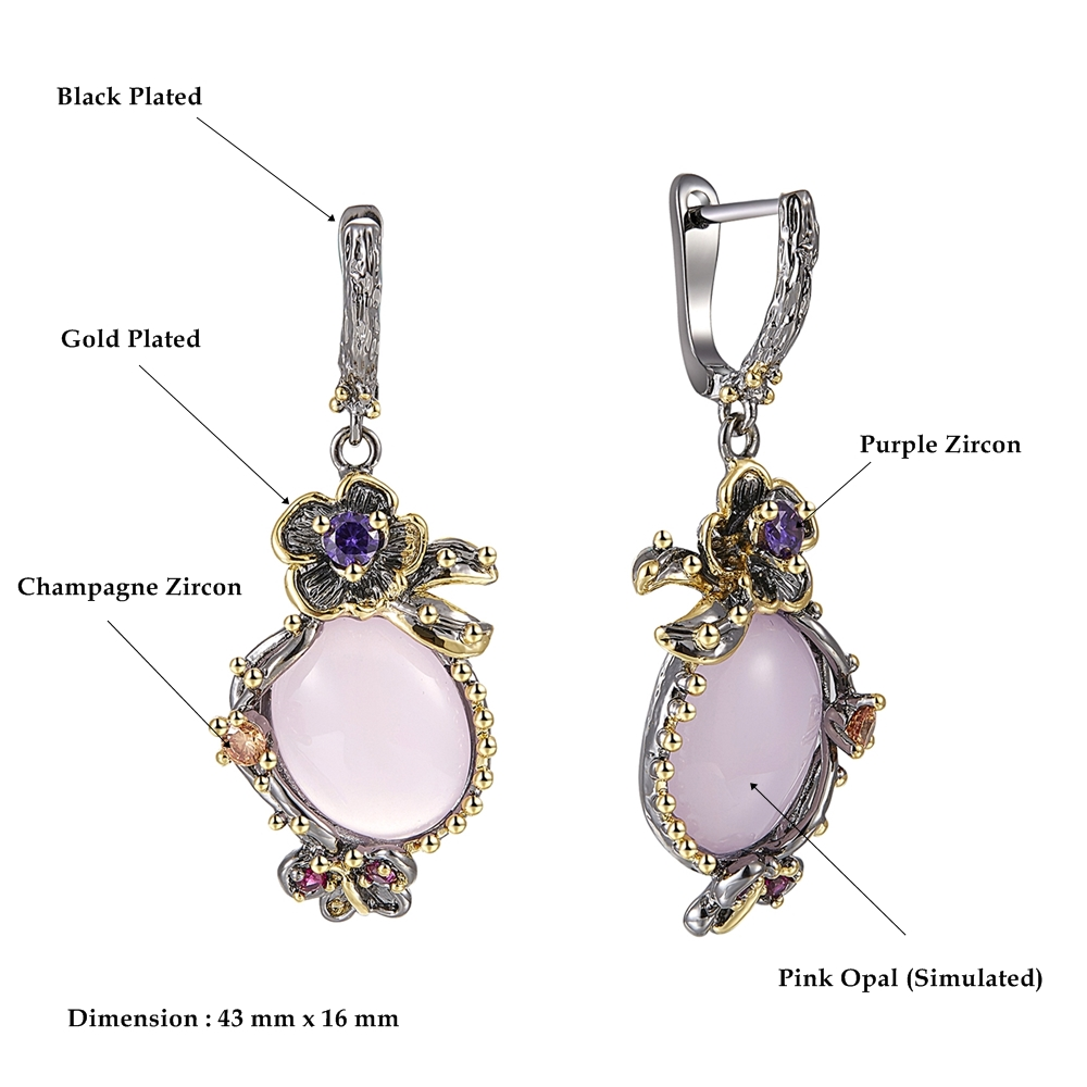 DreamCarnival 1989 Hot Pick Drop Earrings for Women Wedding Party Dangle Earings Pink Opal Stone Fashion Accessories Gift WE3878