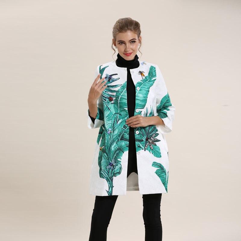 Kadın Giyim'ten Siper'de Avrupa Ve Amerika Birleşik Devletleri 2016 Sonbahar Ağır Manuel Boncuk Baskı 3 Çeyrek Kollu Gevşek Jakarlı Ceket S XXL'da  Grup 1