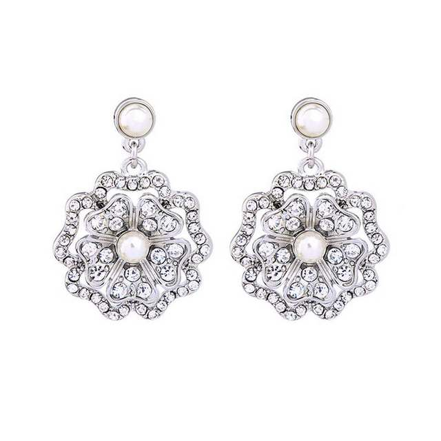 Cream Pearl Centre Pave Crystal Flower Statement Earrings 2017 New Silver Plated Fall Wedding Jewelry E3199