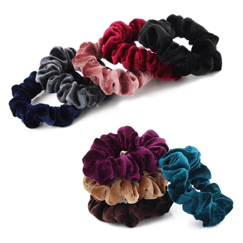 New Fashion Women Solid Thin Coral Fleece Soft Elastic Hair Bands Ponytail Holder Headbands Velvet Scrunchies Hair Accessories