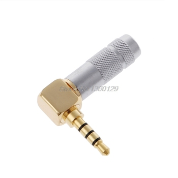 OOTDTY Brass Stereo 3.5mm 4 Pole 90 Degree Repair Headphone Jack Plug Cable Solder Oct23 Dropship