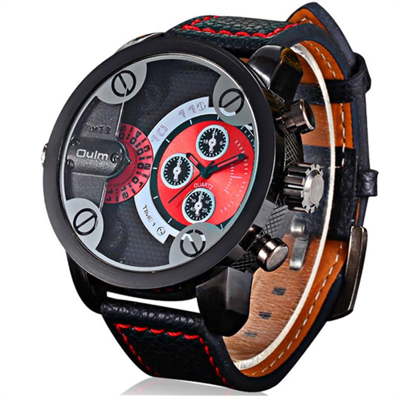 Nieuwe OULM 3130 Heren grote wijzerplaten Uniek ontwerp Dual Time - Herenhorloges - Foto 2