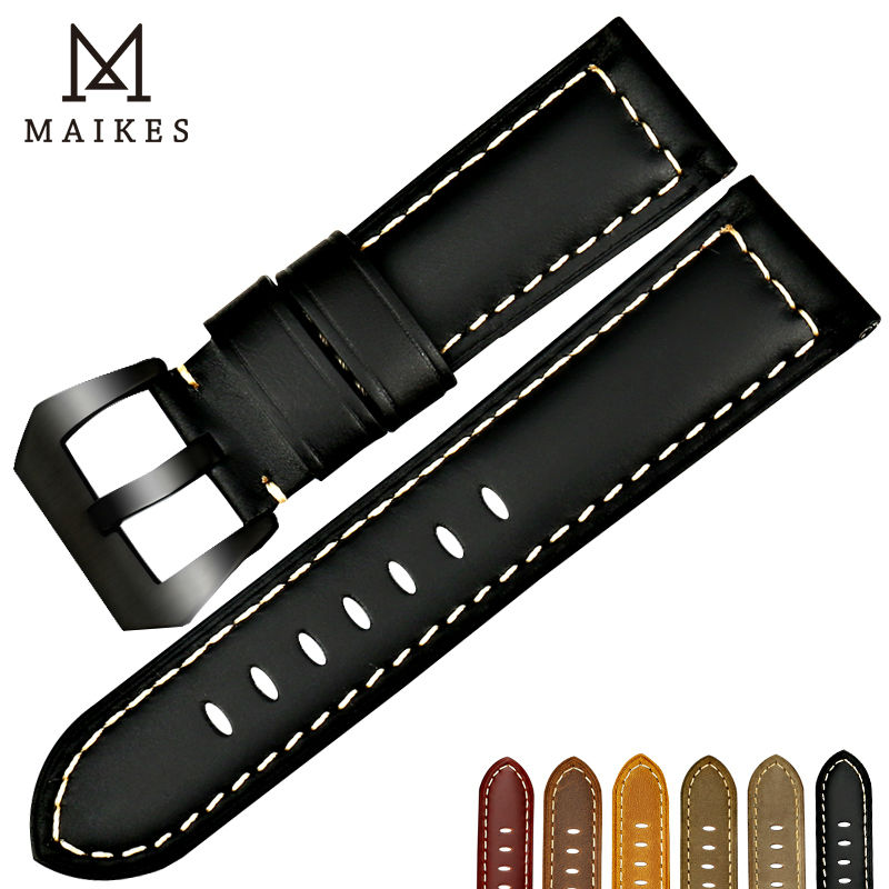 MAIKES New Watchbands 22 24 26mm Men Black Genuine Leather Watch Band Strap Watch Accessories For Panerai Or Samsung Gear S3
