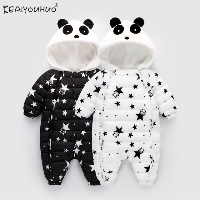 KEAIYOUHUO Baby Girl Clothes Winter Coat Baby Boy Jumpsuits Cotton Coats And Jackets Star Long Sleeve Newborn Outerwear For Kids