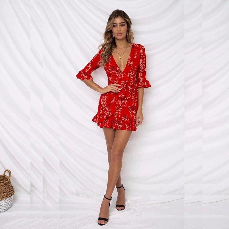 513fd1d40d346 ... yinlinhe Red Beach Summer Dress Short Sleeve 2018 Sash Slim Waist Wrap  Dress Women V neck ...
