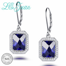 L& zuan 7.88ct сапфировые Свадебные Висячие серьги для женщин синие Серьги с драгоценными камнями 925 стерлингового серебра ювелирные изделия на подарок