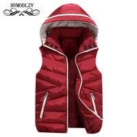 Automne hiver gilet femmes 2018 nouvelle mode à capuche sans manches en coton veste Parka épais rouge garder au chaud rembourré gilets femme 536