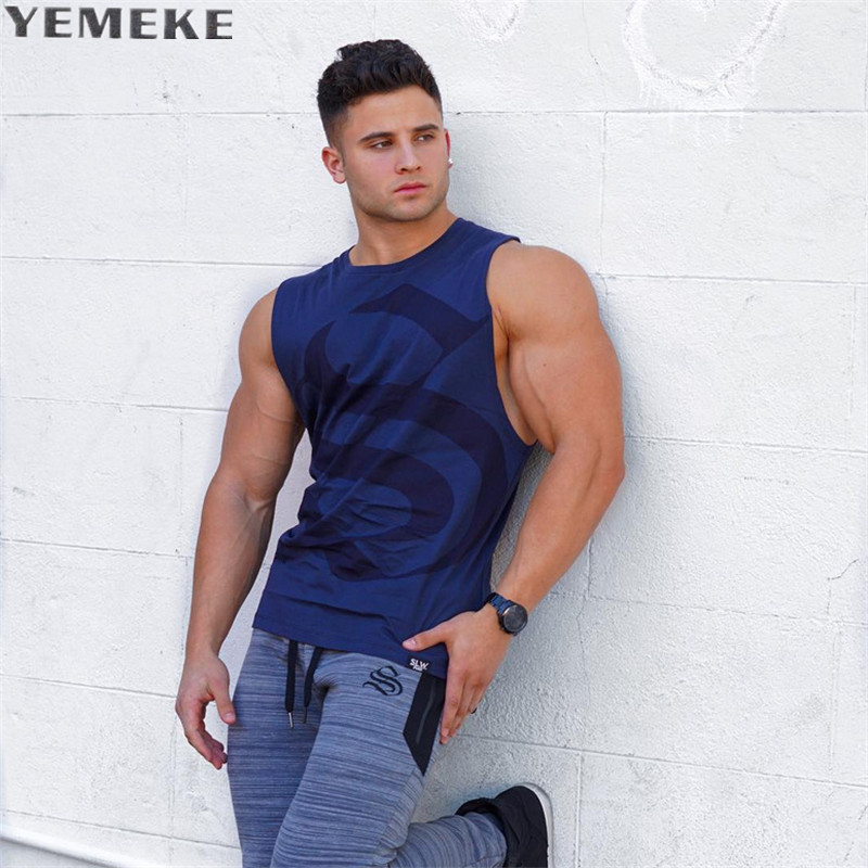 YEMEKE GYMS Clothing Men Fitness Shirts Cotton Men   Tank     Top   Workout Bodybuilding Men Sportwear   Tank     Top   Sleeveless Vest