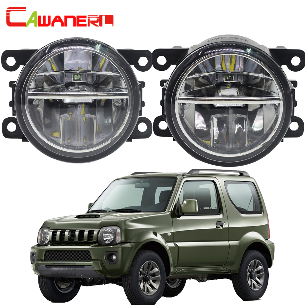 Cawanerl For Suzuki Jimny FJ Closed Off-Road Vehicle 1998-2014 Car LED Fog Light 4000LM White 6000K Daytime Running Lamp DRL 12V