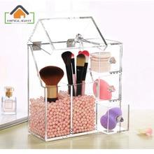 Maquillage brosse boîte de rangement 3 tiroirs Organisateur Cosmétique Titulaire Maquillage Outils organizador Brosse et Accessoire (Sans Perle) XFL201-3
