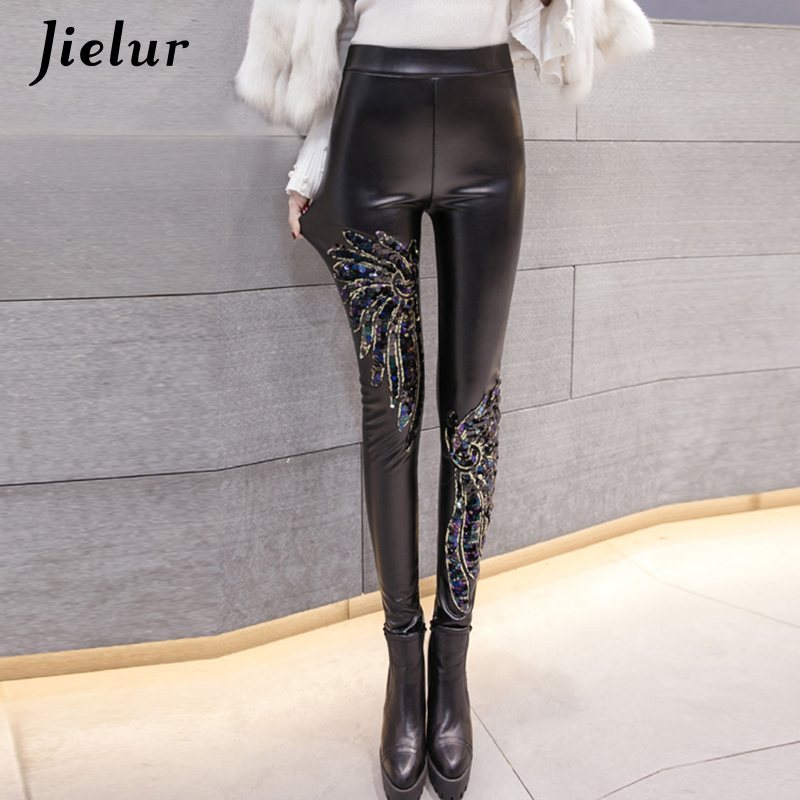 Jielur 2019 Winter New PU Leather Leggings Female Chic Blue Red Green Sequins Legins Warm High Waist Fleece Leggins Women S-XXL