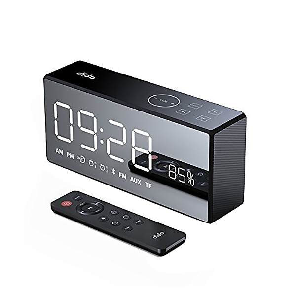 AABB Dido X9 Rechargeable Mirror Led Display Volume And Bass Hi Fi Wireless Bluetooth Speaker Fm Aux Alarm Clock   Black-in Portable Speakers from Consumer Electronics    2