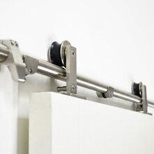 DIYHD 244CM-400CM Stainless steel sliding barn door hardware top mount Double bi-parting closet barn door track kit