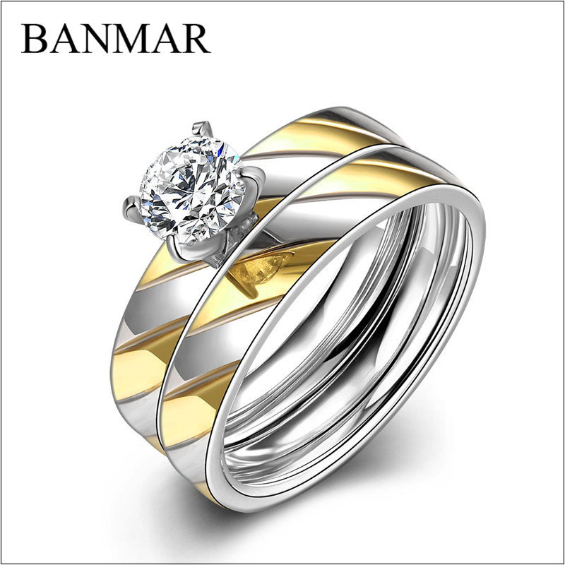 BANMAR Titanium Stainless Steel Rings For Women Anillos De Acero Inoxidable Women Zircon Ladies Zirconia Jewelry Rings Female