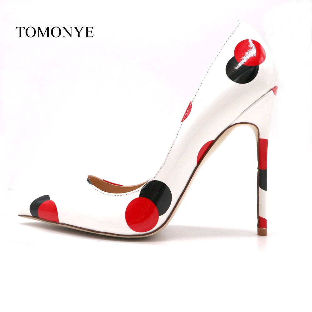 2019 spring new style white patent leather with black red circle pointed toe women lady 120mm