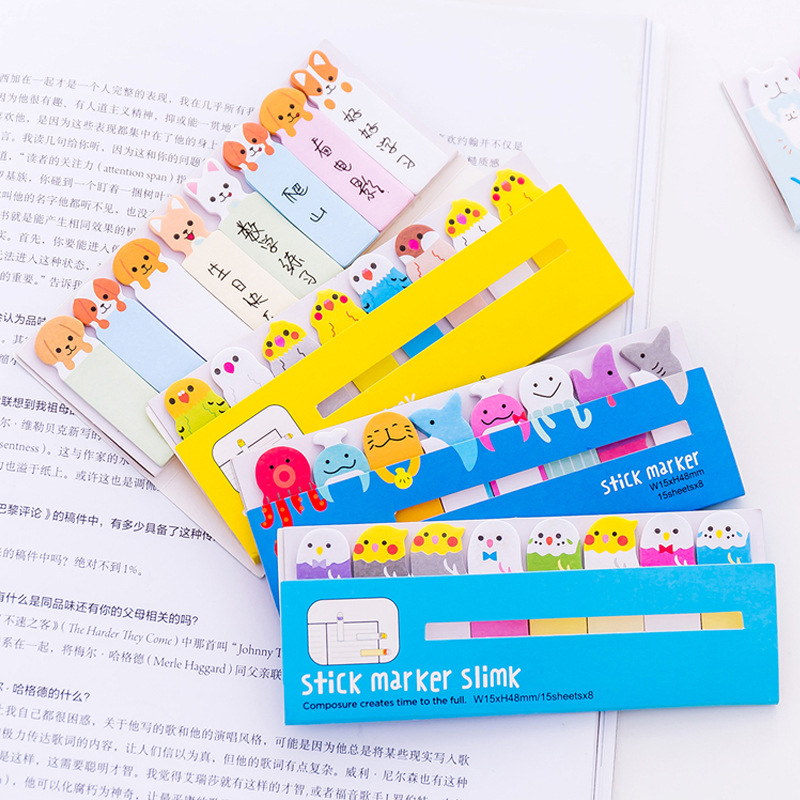 DL Korean stationery cute little animal platoon station, convenient post, study office memorandum N post note book