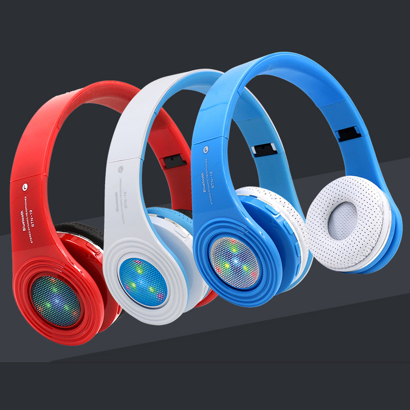 Bluetooth Headphones Wireless Stereo Headsets Bluetooth Earbuds with Mic Support LED Light TF FM Radio for iPhone Samsung