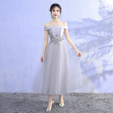 Grey Colour Satin  Embroidery Midi Dress Bridesmaids Dresses Elegant Woman for Party and Wedding