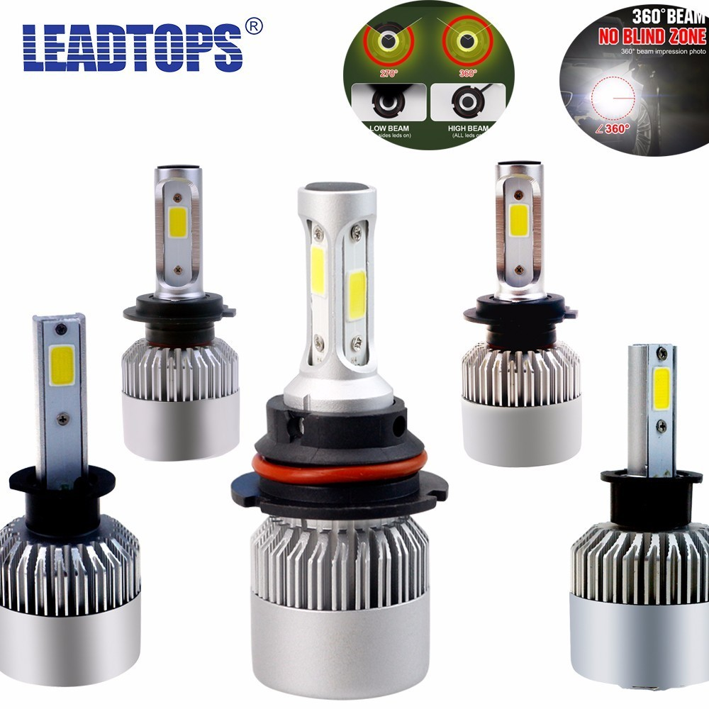 LEADTOPS LED H4 H7 H11 H1 H13 H3 9004 9005 9006 9007 COB LED Car Headlight Bulb Hi-Lo Beam 72W 8000LM 6500K Auto Headlamp 12v DJ  isincer g5 h4 h7 h11 h13 9005 9006 h1 9007 cob led car headlight bulb hi lo beam 110w 16000lm 6500k auto headlamp 12v fog lights
