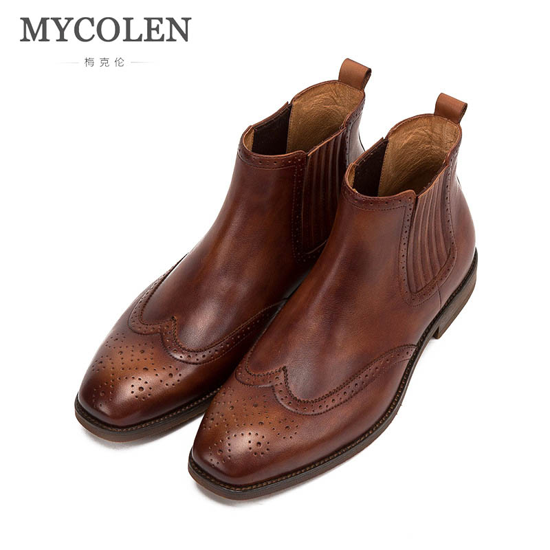 MYCOLEN New Chelsea Boots Men 'S Boots Casual Square Toe Fall Winter Cow Male Boots Short Tube Homme Shoes Botas Hombre Cuero mycolen brand new chelsea boots british style fashion comfortable male thick soles ankle boots slip on casual shoes botas hombre