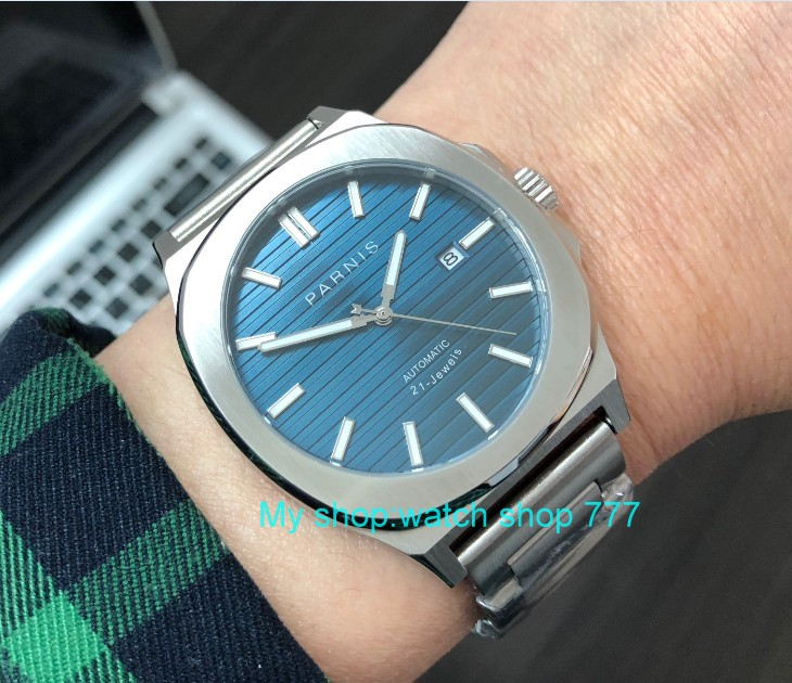 44MM PARNIS Japanese Automatic Self Wind movement Sapphire Crystal luminous Stainless steel case men s watch