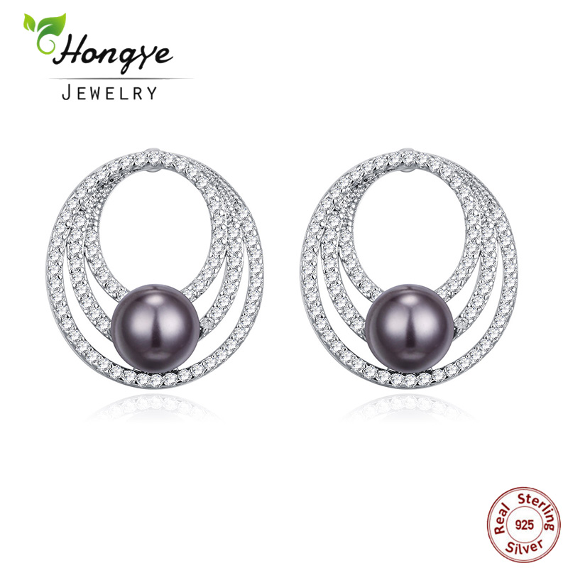 Hongye Natural Freshwater Pearl Earrings Fashion 925 Sterling Silver Stud Earrings Women Jewelry Black Pearls for Wedding Party