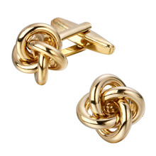 Золотистый металл медь твист Мужская мода Блестящий Запонки Свадебные деловые Запонки