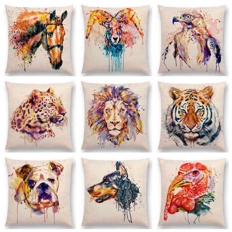 Акварель Животные Чехлы для подушек Портрет руководитель bighorn лев леопард тигр медведь Орел лошадь Товары для собак домашний диван Пледы Наволочки