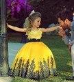 2016 recién llegado de bonito Scoop Appliques del cordón del arco de la muchacha de flor cabritos del vestido de noche vestidos de bola niñas vestidos del desfile CF04