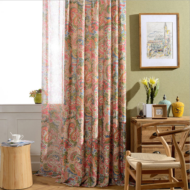 Aliexpress.com : Buy Rustic Living Room Curtains Interior Decoration Home  Window Treatments Polyester Cotton Floral Print Curtains Panel (A122) From  ...