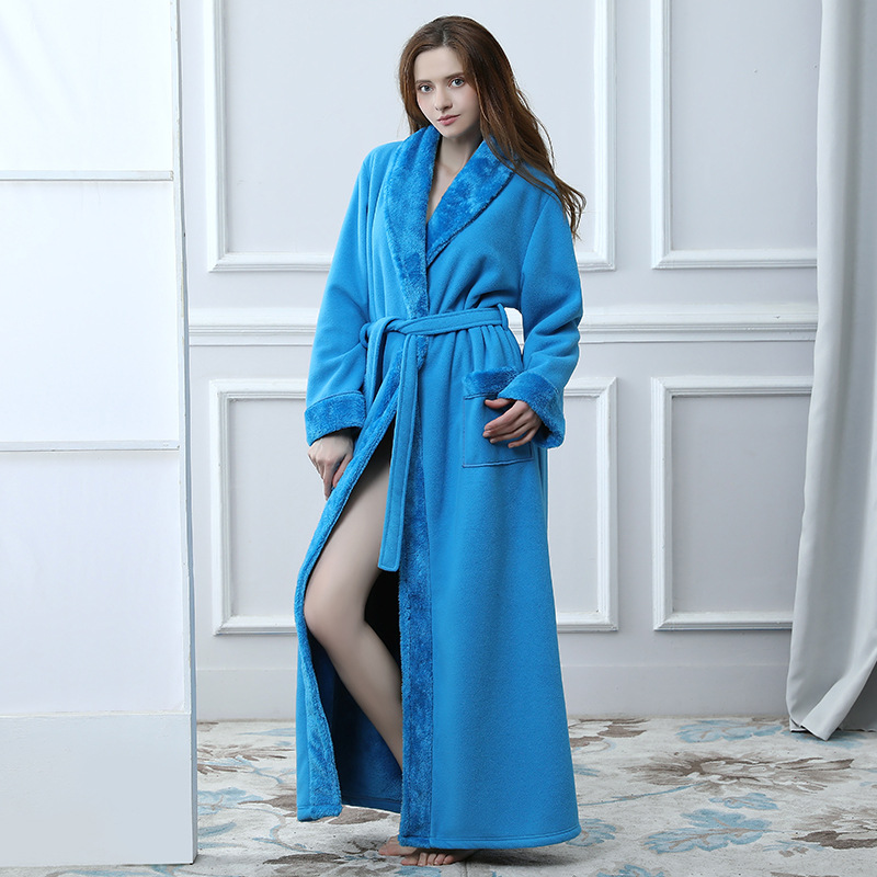 Extreme Long Women Bathrobe Warm Winter Nightgown Towel Flannel Sleepwear Kimono Peignoir Bridesmaid Bath Robe Dressing Gown