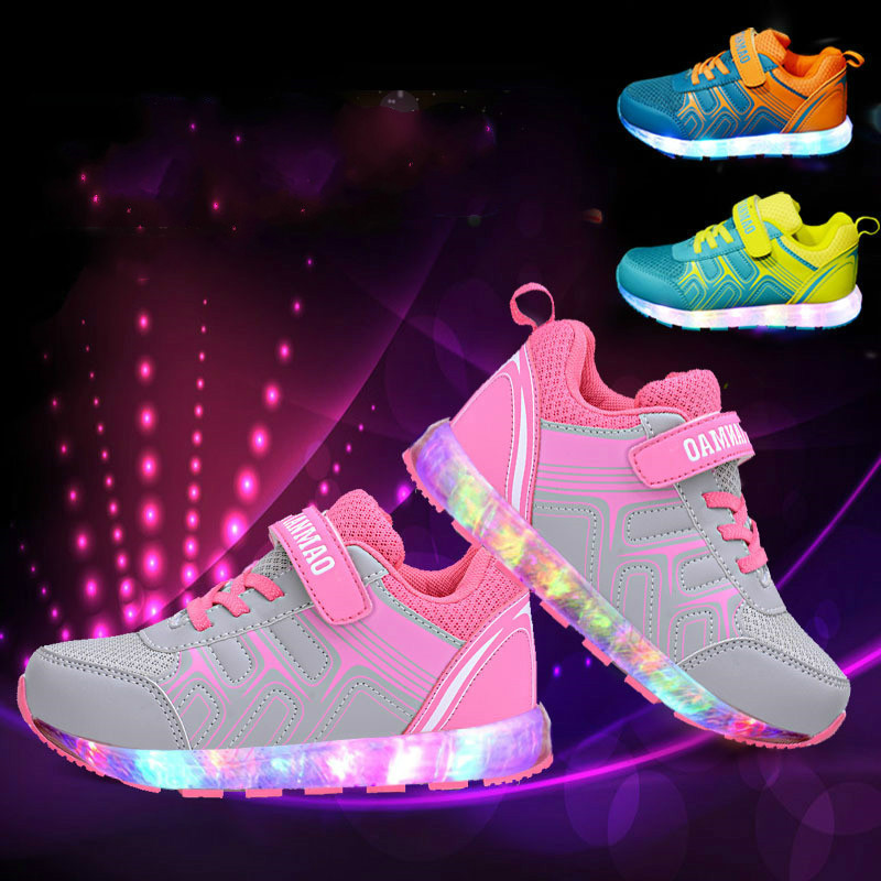 New Children Baby Led Light Shoes Kids USB Charging Flash Fashion Sneakers New Boys and Girls Casual Luminous Shoes 2017 new fashion kids sneakers led luminous usb rechargeable boys casual shoes size 25 37 girls colorful flashing lights shoe