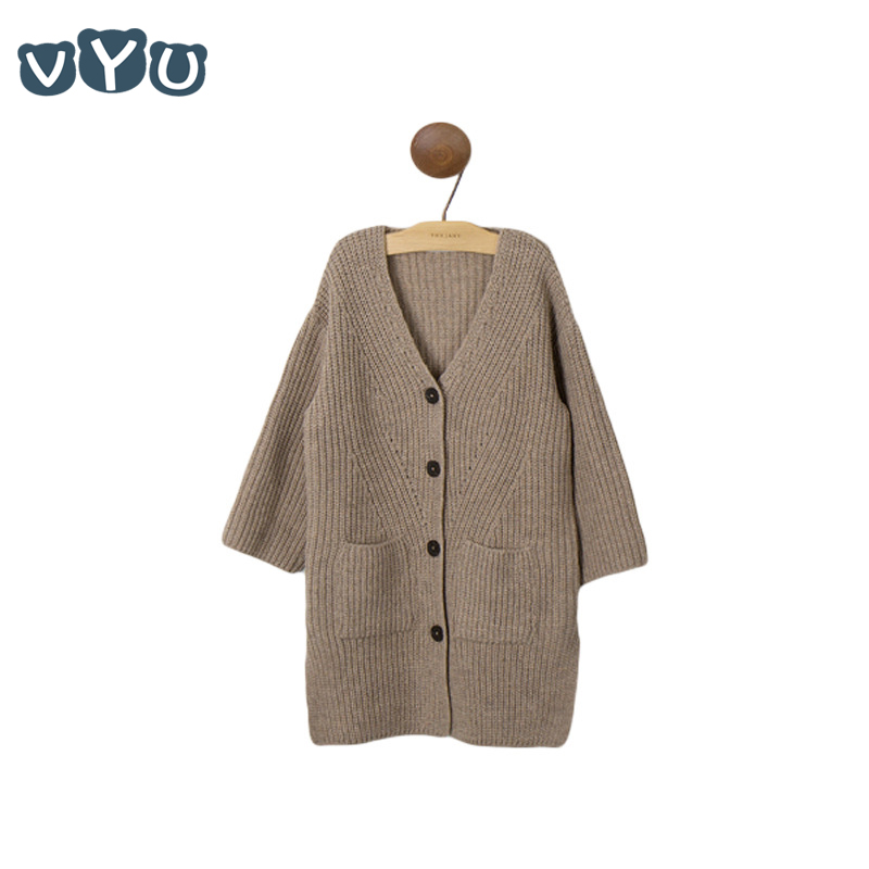 VYU Girls Sweater Coat 2018 Autumn And Winter V-Neck Long Button Knitted Girls Sweater Apricot Cardigan Sweater Coat Top Outfit crew neck ribbed knitted heather sweater