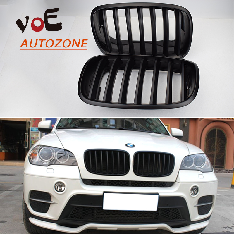 2007-2013 Kidney Shape Matte Black ABS Plastic E70  E71 Original Style X5 X6 Front Racing Grill Grille for BMW E70 X5 BMW  X6 replacement bumper grill kidney grille front grid for bmw x5 e70 x6 e71 2007 2014 abs material replacement grid front hood